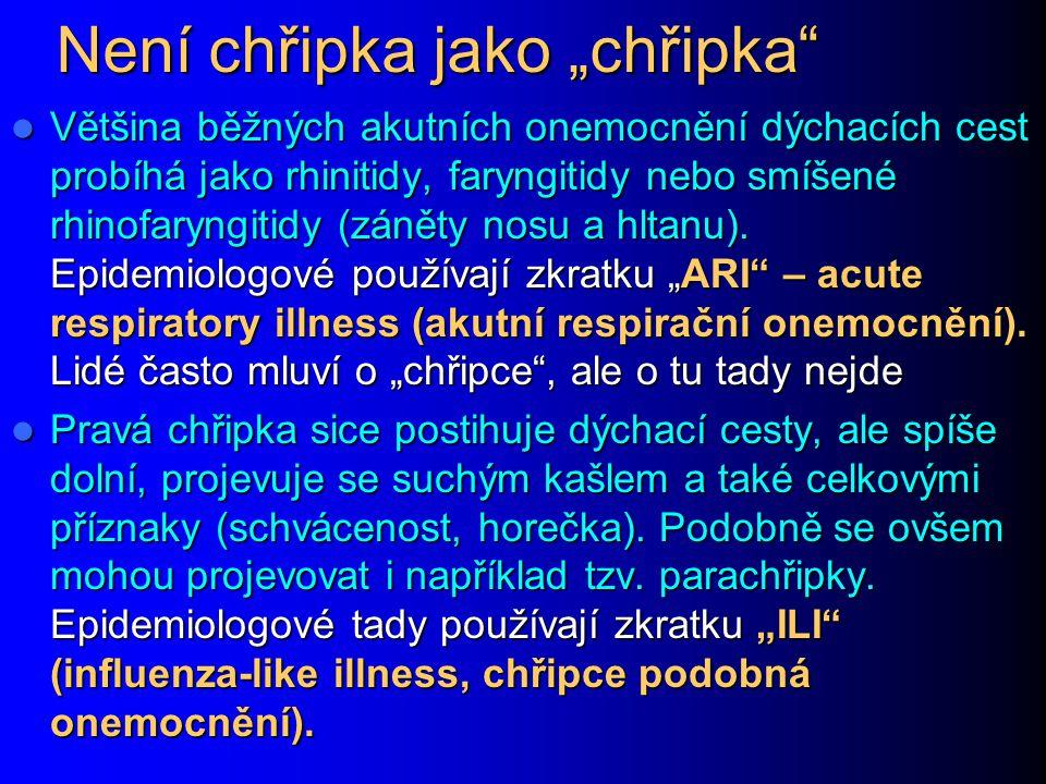 Chronická bronchitis Bronchiolitis Chronické bronchitidy (cystická fibróza, oslabení lidé): Chronické bronchitidy (cystická fibróza, oslabení lidé): – Pseudomonas aeruginosa, Burkholderia cepacia, Staphylococcus aureus Bronchiolotis (zánět průdušinek): postihuje kojence, batolata a seniory.
