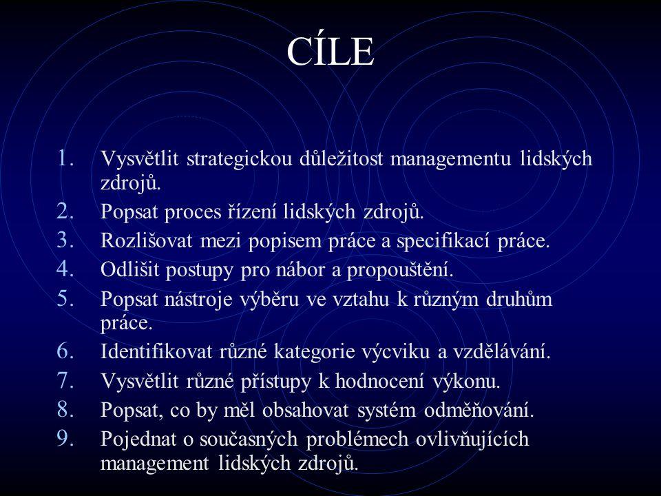 CÍLE 1. Vysvětlit strategickou důležitost managementu lidských zdrojů. 2. Popsat proces řízení lidských zdrojů. 3. Rozlišovat mezi popisem práce a spe