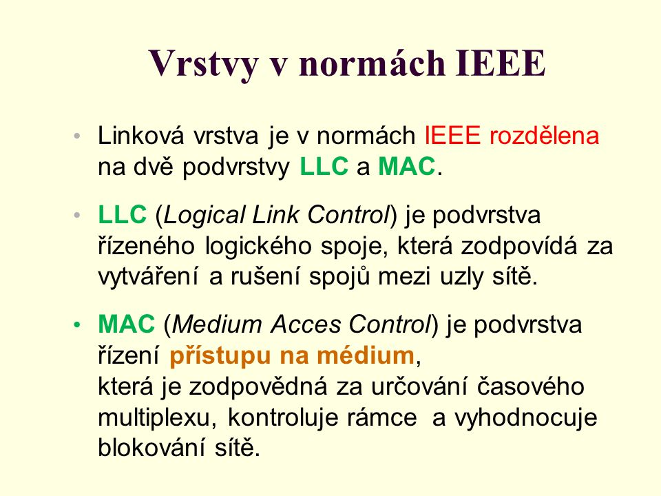 Vrstvy v normách IEEE Linková vrstva je v normách IEEE rozdělena na dvě podvrstvy LLC a MAC.