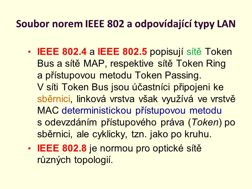 Soubor norem IEEE 802 a odpovídající typy LAN IEEE 802.11 je normou pro bezdrátové sítě WLAN IEEE 802.2 je normou pro vysokorychlostní sítě 100 VG - Any LAN (Hewlett-Packard) s přenosovou rychlostí 100Mb/s.
