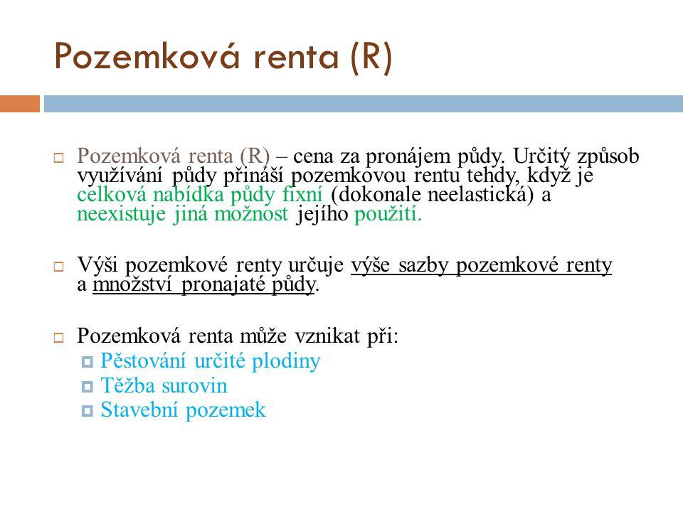 Pozemková renta (R)  Pozemková renta (R) – cena za pronájem půdy.