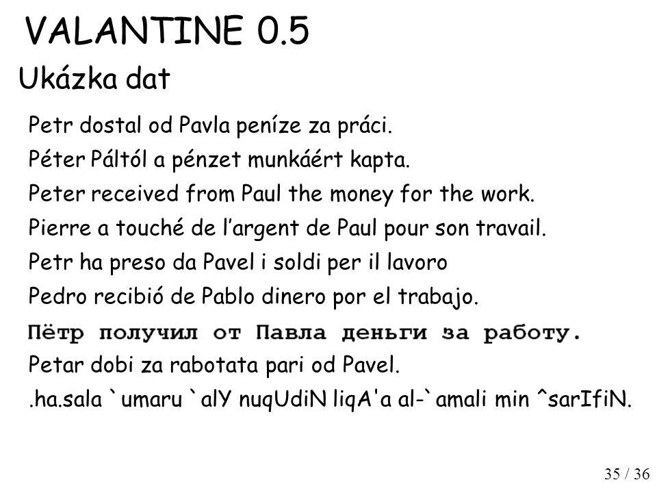 35 / 36 VALANTINE 0.5 Ukázka dat Petr dostal od Pavla peníze za práci.