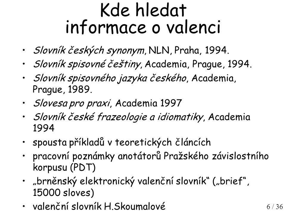 6 / 36 Kde hledat informace o valenci Slovník českých synonym, NLN, Praha, 1994.