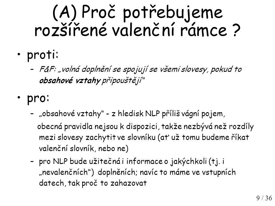 10 / 36 Navržená klasifikace prvků valenčního rámce valenční doplnění (obl.