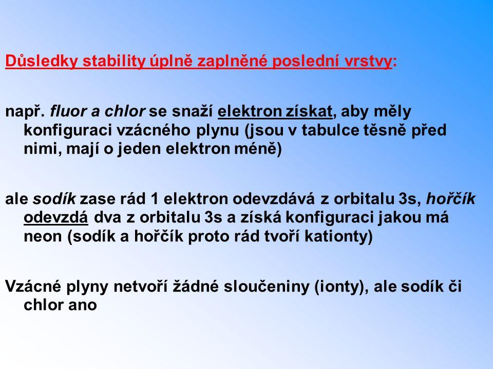 Důsledky stability úplně zaplněné poslední vrstvy: např. fluor a chlor se snaží elektron získat, aby měly konfiguraci vzácného plynu (jsou v tabulce t