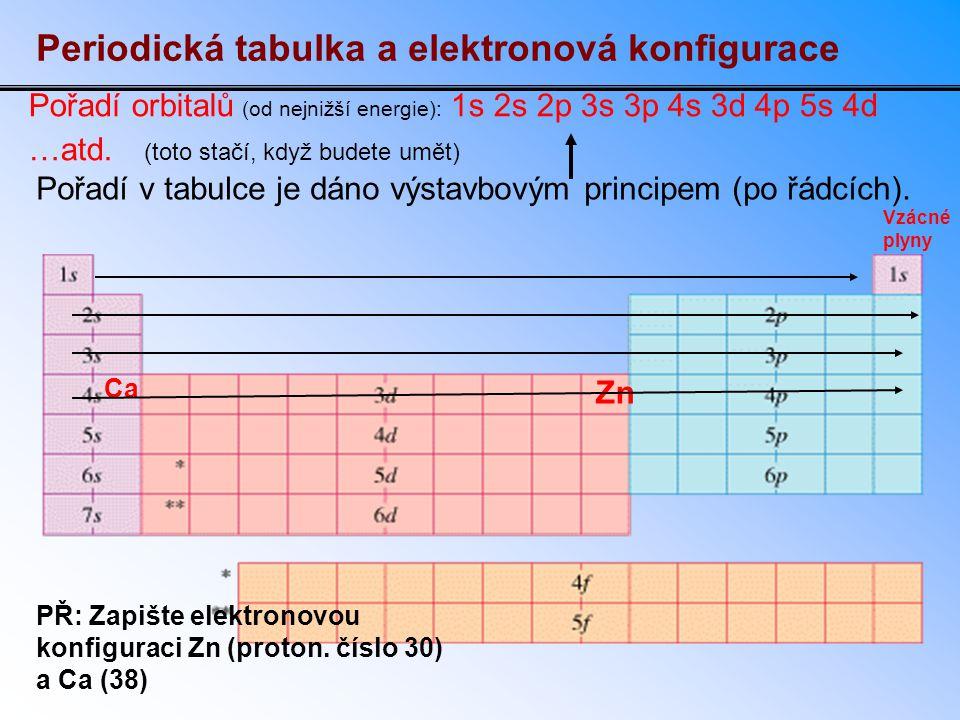 Řešení Podíváme-li se na polohu zinku v tabulce, zjistíme, že má obsazeny orbitaly 1s, 2s, 2p, 3s, 3p, 4s i 3d (3d je obsazen úplně, protože je na konci) – takže: 1s 2 2s 2 2p 6 3s 2 3p 6 4s 2 3d 10 (když sečteš počty elektronů, tedy horní indexy nad písmeny, dostaneš protonové číslo) U Ca jsou dva elektrony v orbitalu 4s (valenční elektrony): 1s 2 2s 2 2p 6 3s 2 3p 6 4s 2 Oba prvky lze zapsat pomocí konfigurace nejbližšího vzácného plynu, který je v tabulce před těmito prvky: Zn: [ 18 Ar] 4s 2 3d 10 Ca: [ 18 Ar] 4s 2