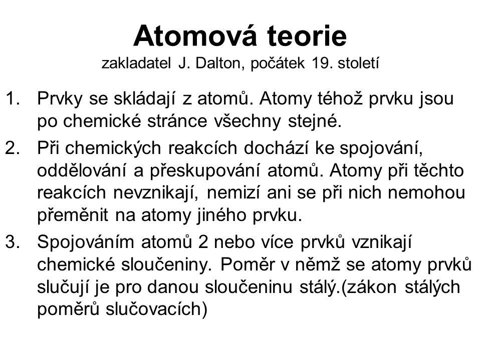 Atomová teorie zakladatel J.Dalton, počátek 19. století 1.Prvky se skládají z atomů.