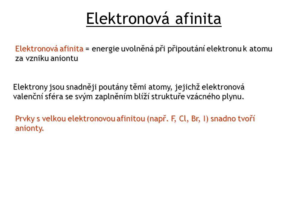 Elektronová afinita Elektronová afinita = energie uvolněná při připoutání elektronu k atomu za vzniku aniontu Elektrony jsou snadněji poutány těmi atomy, jejichž elektronová valenční sféra se svým zaplněním blíží struktuře vzácného plynu.