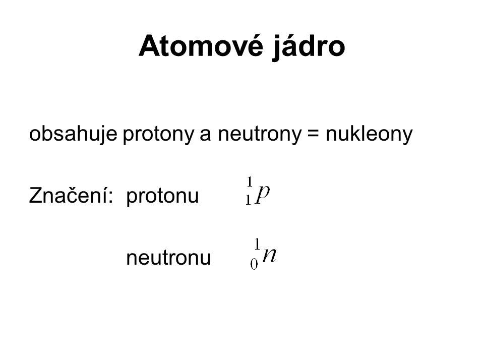 Atomové jádro obsahuje protony a neutrony = nukleony Značení:protonu neutronu