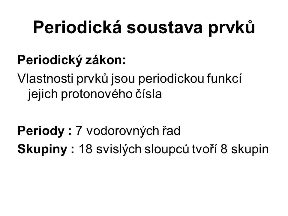 Periodická soustava prvků Periodický zákon: Vlastnosti prvků jsou periodickou funkcí jejich protonového čísla Periody : 7 vodorovných řad Skupiny : 18 svislých sloupců tvoří 8 skupin