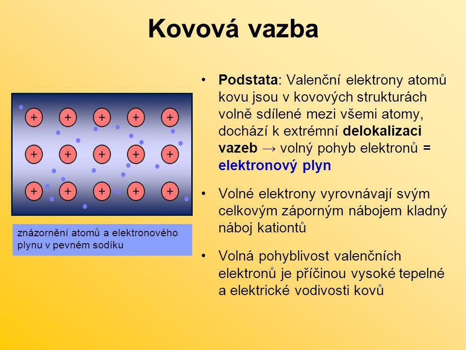 Kovová vazba Podstata: Valenční elektrony atomů kovu jsou v kovových strukturách volně sdílené mezi všemi atomy, dochází k extrémní delokalizaci vazeb