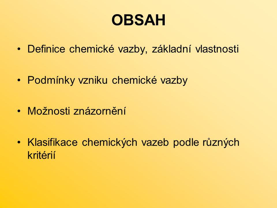OBSAH Definice chemické vazby, základní vlastnosti Podmínky vzniku chemické vazby Možnosti znázornění Klasifikace chemických vazeb podle různých krité