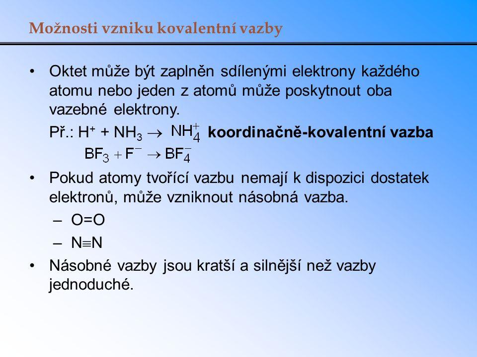 Možnosti vzniku kovalentní vazby Oktet může být zaplněn sdílenými elektrony každého atomu nebo jeden z atomů může poskytnout oba vazebné elektrony. Př