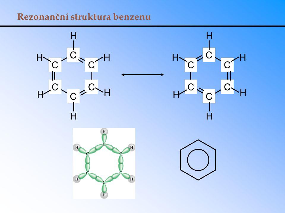 Rezonanční struktura benzenu C C C CC C H H H H H H C C C CC C H H H H H H