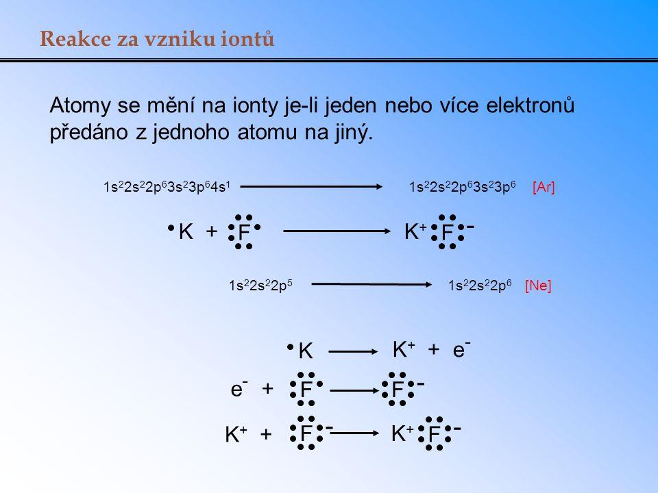 Reakce za vzniku iontů K + F K+K+ F - 1s 2 2s 2 2p 6 3s 2 3p 6 4s 1 1s 2 2s 2 2p 5 1s 2 2s 2 2p 6 [Ar] [Ne] K K + + e - e - + FF - F - K + + K+K+ F -