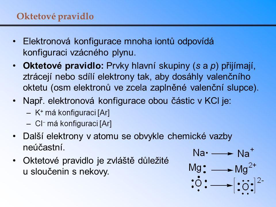 Oktetové pravidlo Elektronová konfigurace mnoha iontů odpovídá konfiguraci vzácného plynu. Oktetové pravidlo: Prvky hlavní skupiny (s a p) přijímají,