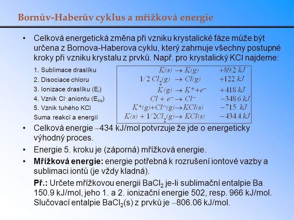 Bornův-Haberův cyklus a mřížková energie Celková energetická změna při vzniku krystalické fáze může být určena z Bornova-Haberova cyklu, který zahrnuj