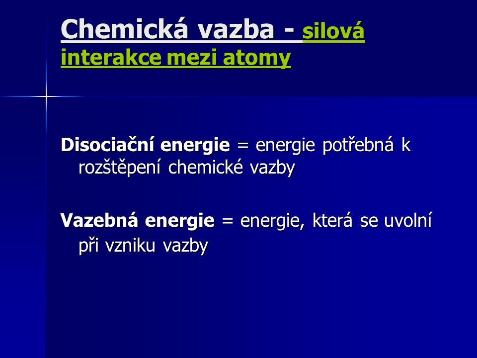 Disociační energie = energie potřebná k rozštěpení chemické vazby Vazebná energie = energie, která se uvolní při vzniku vazby