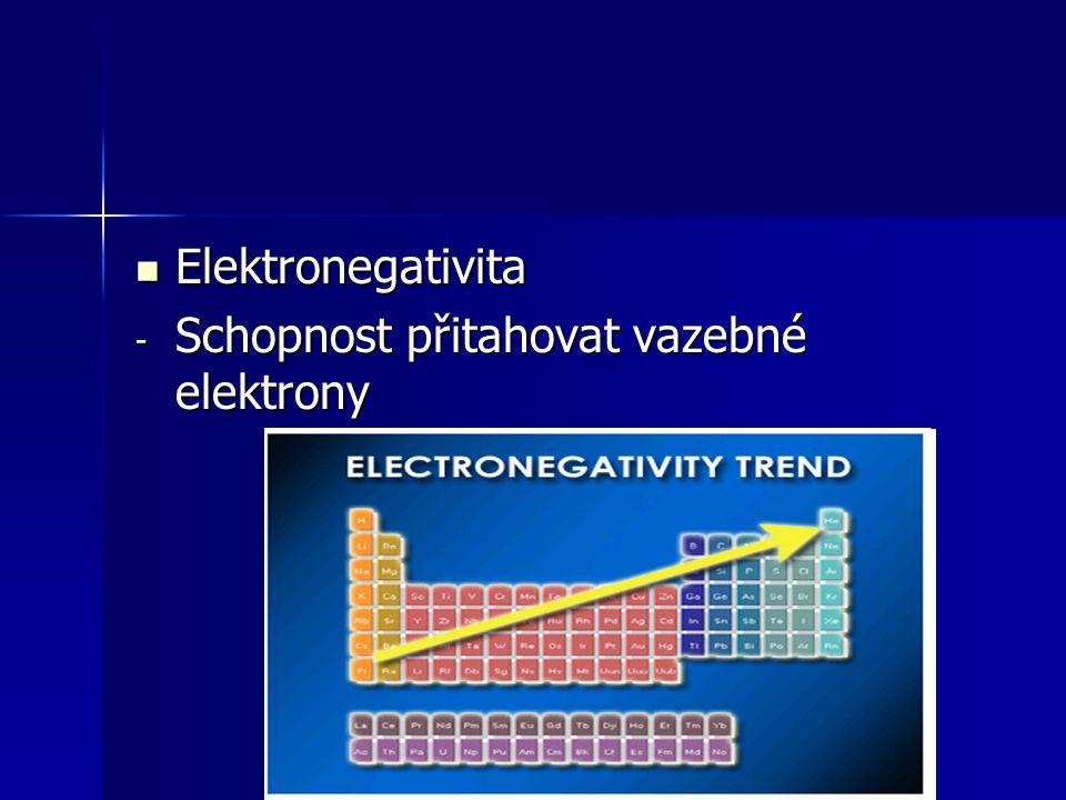 - Schopnost přitahovat vazebné elektrony