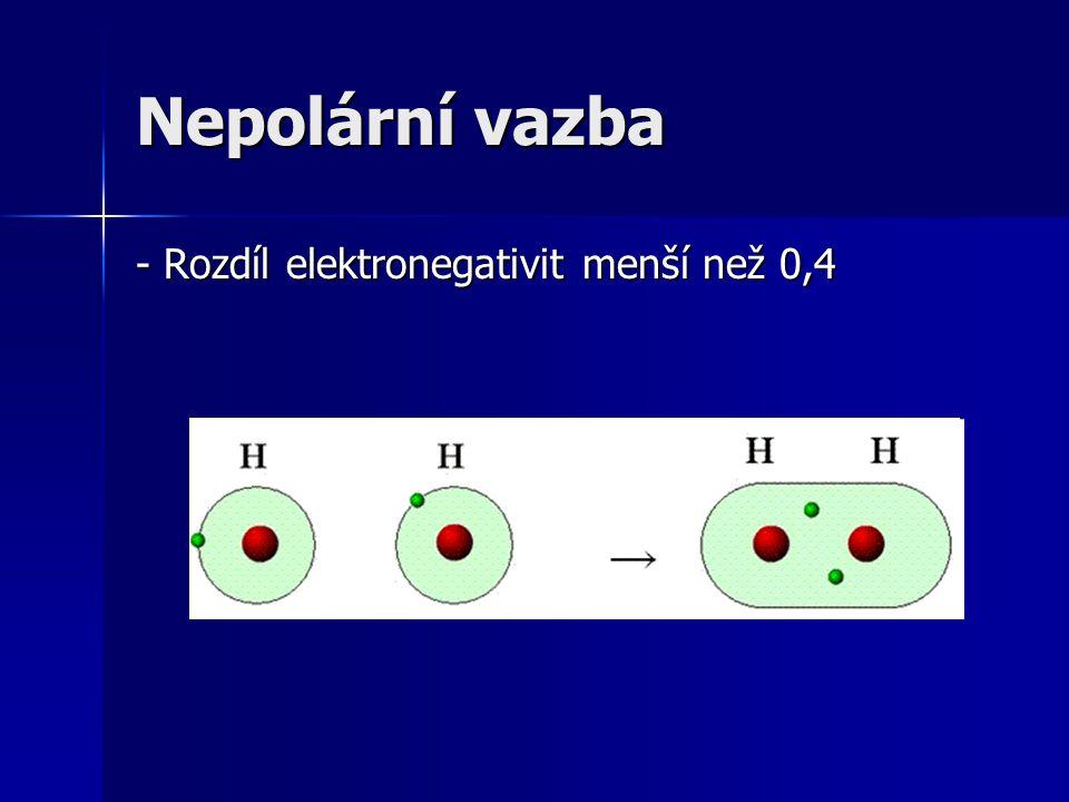 Nepolární vazba - Rozdíl elektronegativit menší než 0,4