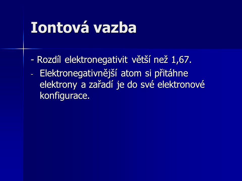 Iontová vazba - Rozdíl elektronegativit větší než 1,67. - Elektronegativnější atom si přitáhne elektrony a zařadí je do své elektronové konfigurace.