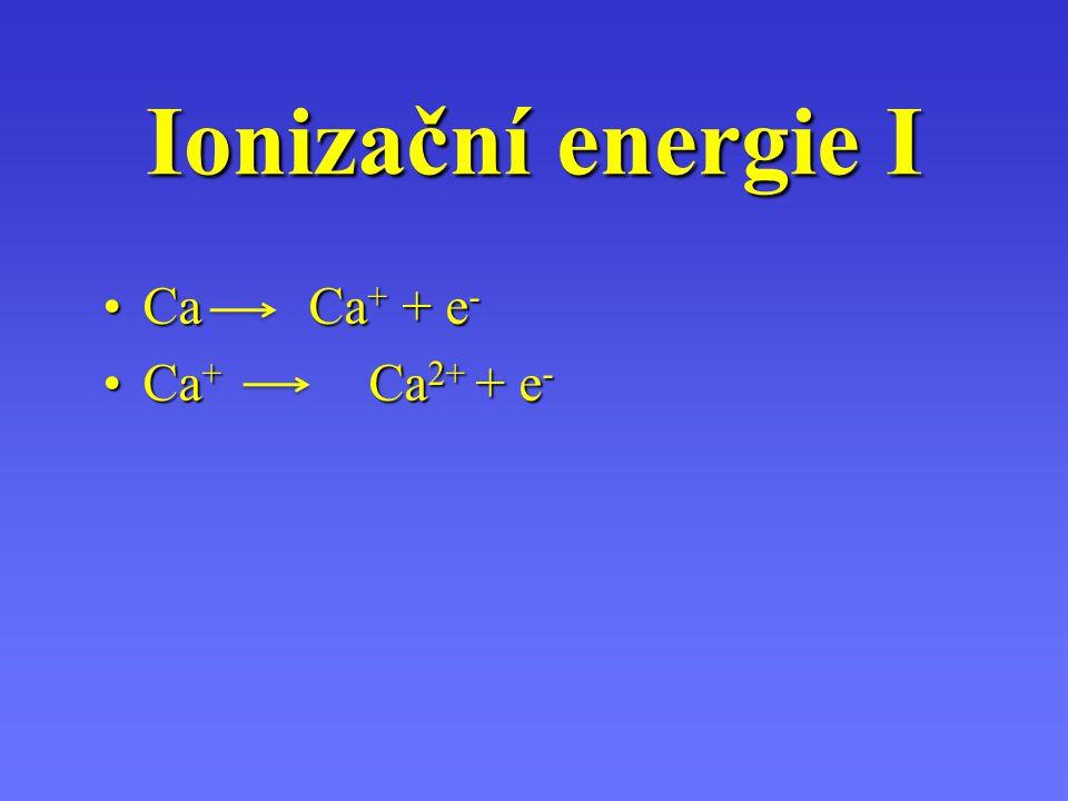 kJmol -1kJmol -1 Potřebná k odtržení valenčního elektronu od atomuPotřebná k odtržení valenčního elektronu od atomu První ionizačníPrvní ionizační Dru