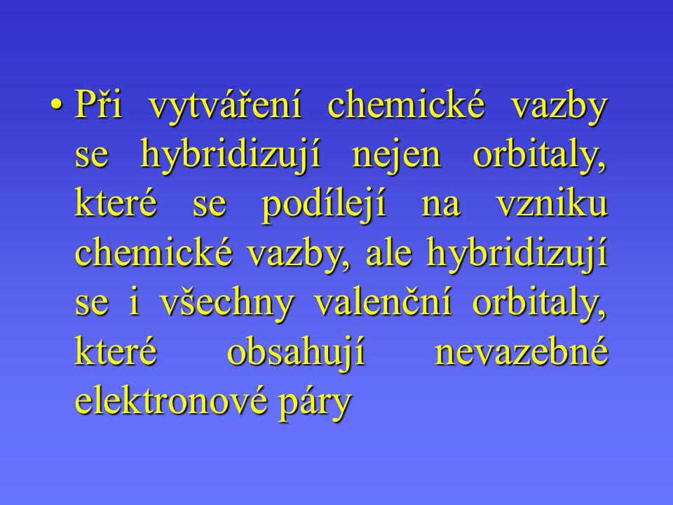 Spojení orbitalů = energetické sjednocení= hybridizaceSpojení orbitalů = energetické sjednocení= hybridizace