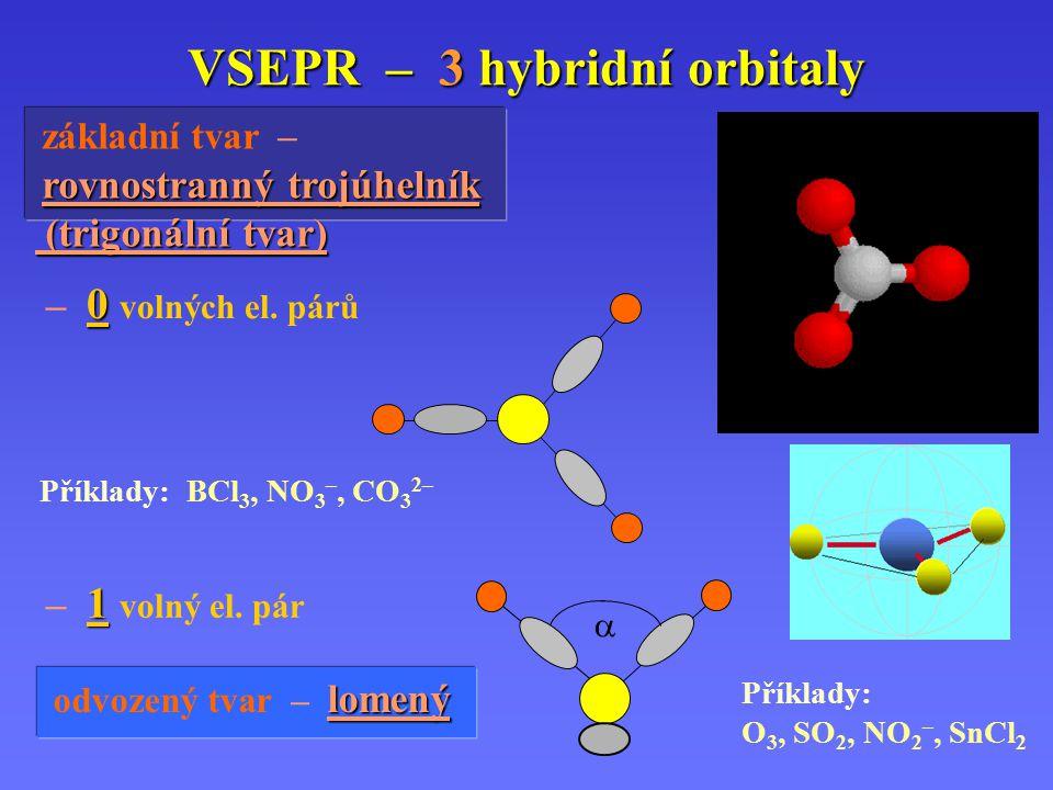 VSEPR – 2 hybridní orbitaly základní tvar – lineární sp hybridizace: 0 volných el. párů Příklady: BeCl 2, CO 2, HgCl 2, ZnI 2, CdBr 2, N 3–