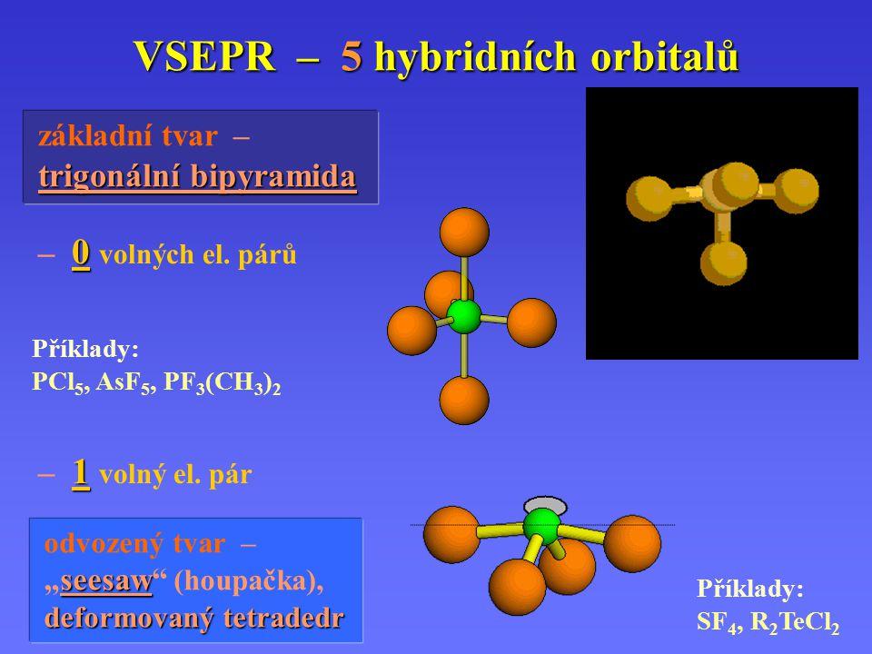 VSEPR – 4 hybridní orbitaly – 2 volné el. páry Příklady: H 2 O, H 2 S, SCl 2, ClO 2 – odvozený tvar – lomený