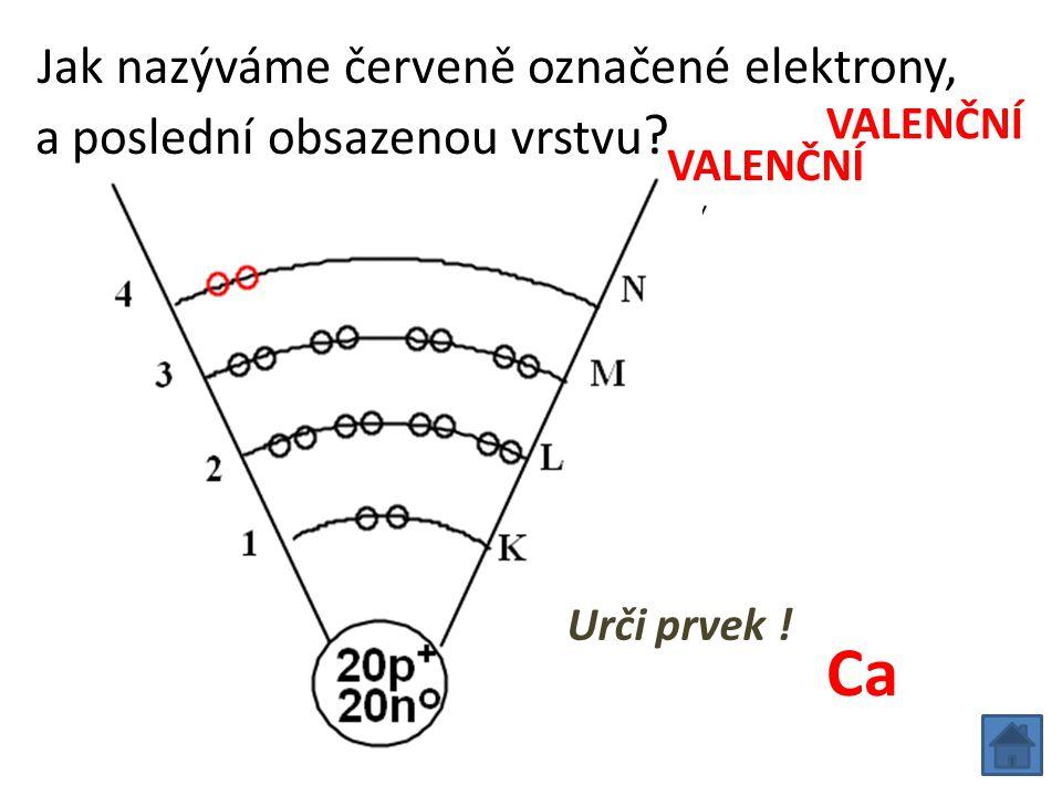 Jak nazýváme červeně označené elektrony, a poslední obsazenou vrstvu Ca VALENČNÍ Urči prvek !