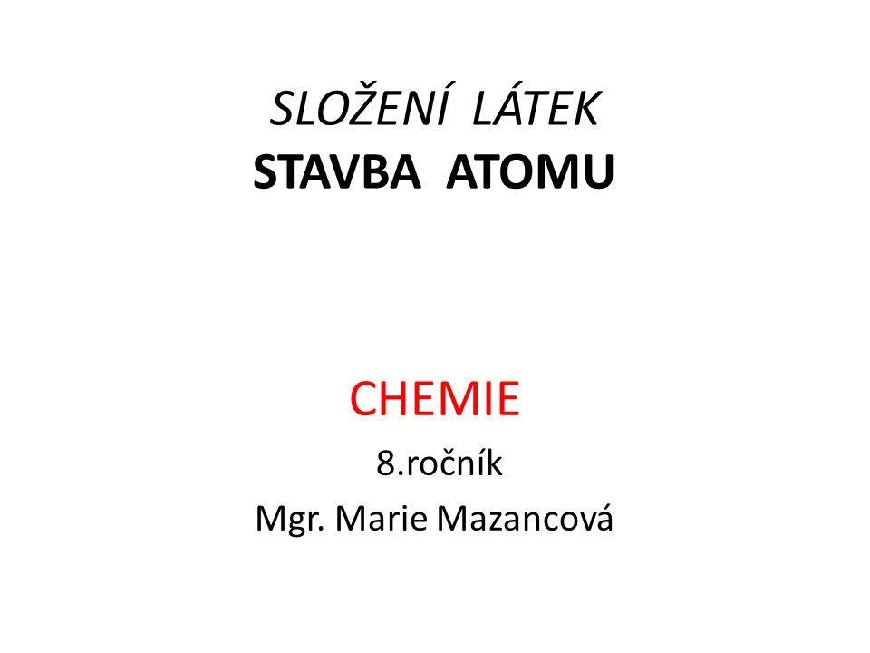 SLOŽENÍ LÁTEK STAVBA ATOMU CHEMIE 8.ročník Mgr. Marie Mazancová