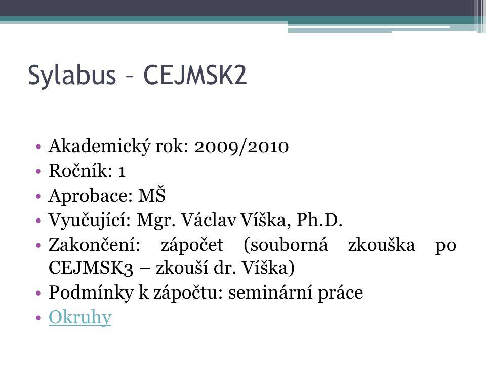 Sylabus – CEJMSK2 Akademický rok: 2009/2010 Ročník: 1 Aprobace: MŠ Vyučující: Mgr. Václav Víška, Ph.D. Zakončení: zápočet (souborná zkouška po CEJMSK3