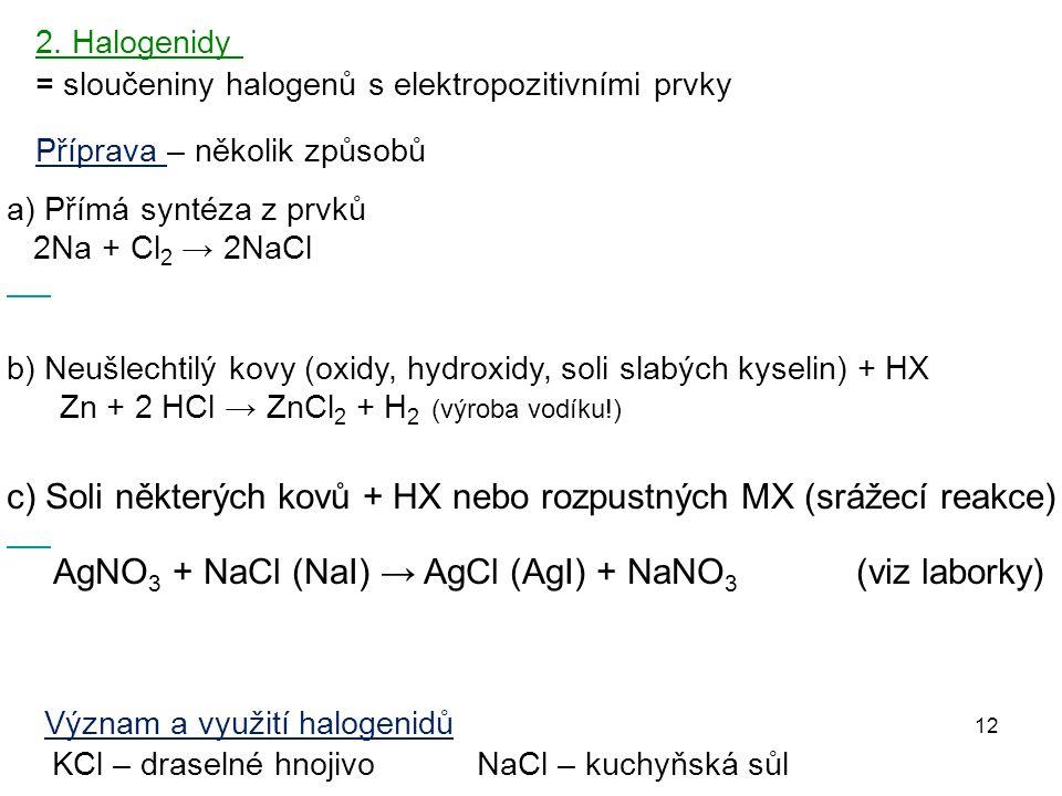 12 = sloučeniny halogenů s elektropozitivními prvky 2. Halogenidy Příprava – několik způsobů Význam a využití halogenidů KCl – draselné hnojivo NaCl –