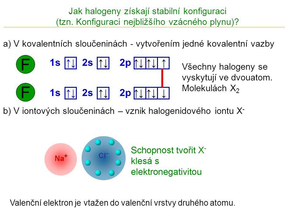 Jak halogeny získají stabilní konfiguraci (tzn. Konfiguraci nejbližšího vzácného plynu)? F 1s ↑↓ 2p ↑↓ ↑↓ ↑ 2s ↑↓ F 1s ↑↓ 2p ↑↓ ↑↓ ↓ 2s ↑↓ Všechny hal
