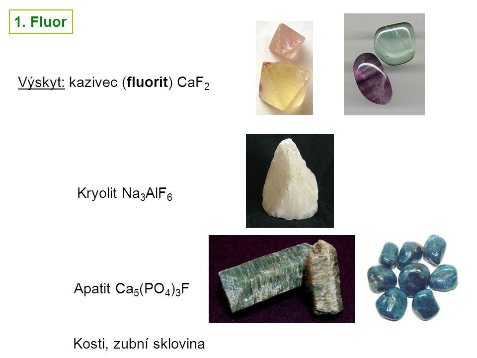 7 1. Fluor Výskyt: kazivec (fluorit) CaF 2 Kryolit Na 3 AlF 6 Apatit Ca 5 (PO 4 ) 3 F Kosti, zubní sklovina