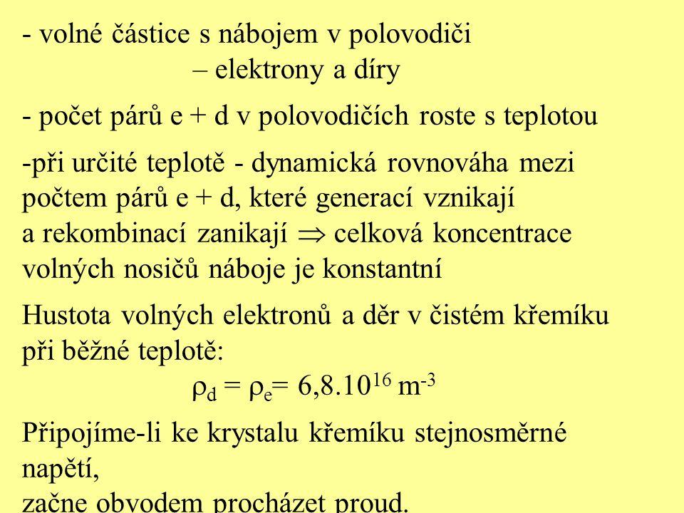 - volné částice s nábojem v polovodiči – elektrony a díry - počet párů e + d v polovodičích roste s teplotou -při určité teplotě - dynamická rovnováha
