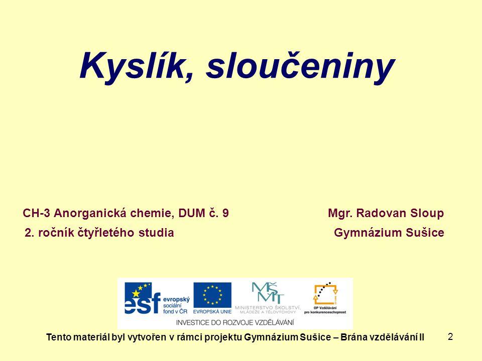 2 Kyslík, sloučeniny Mgr.