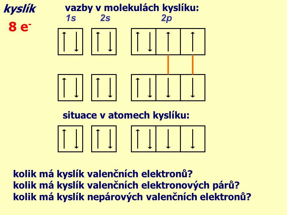 vazby v molekulách kyslíku: kyslík 1s 2s 2p 8 e - situace v atomech kyslíku: kolik má kyslík valenčních elektronů.