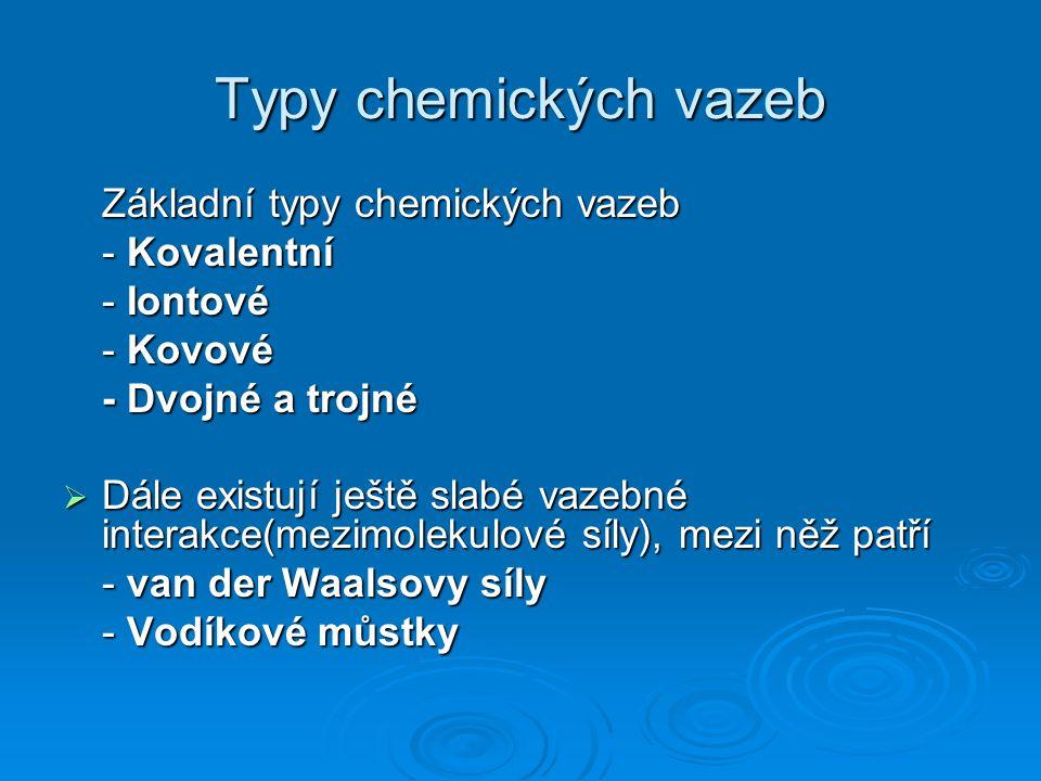 Kovalentní chemická vazba  Kovalentní chemická vazba vzniká, když se k sobě dva atomy přiblíží na malou vzdálenost(100 pm) a na valenční elektrony každého z atomů začne působit přitažlivá síla druhého jádra.