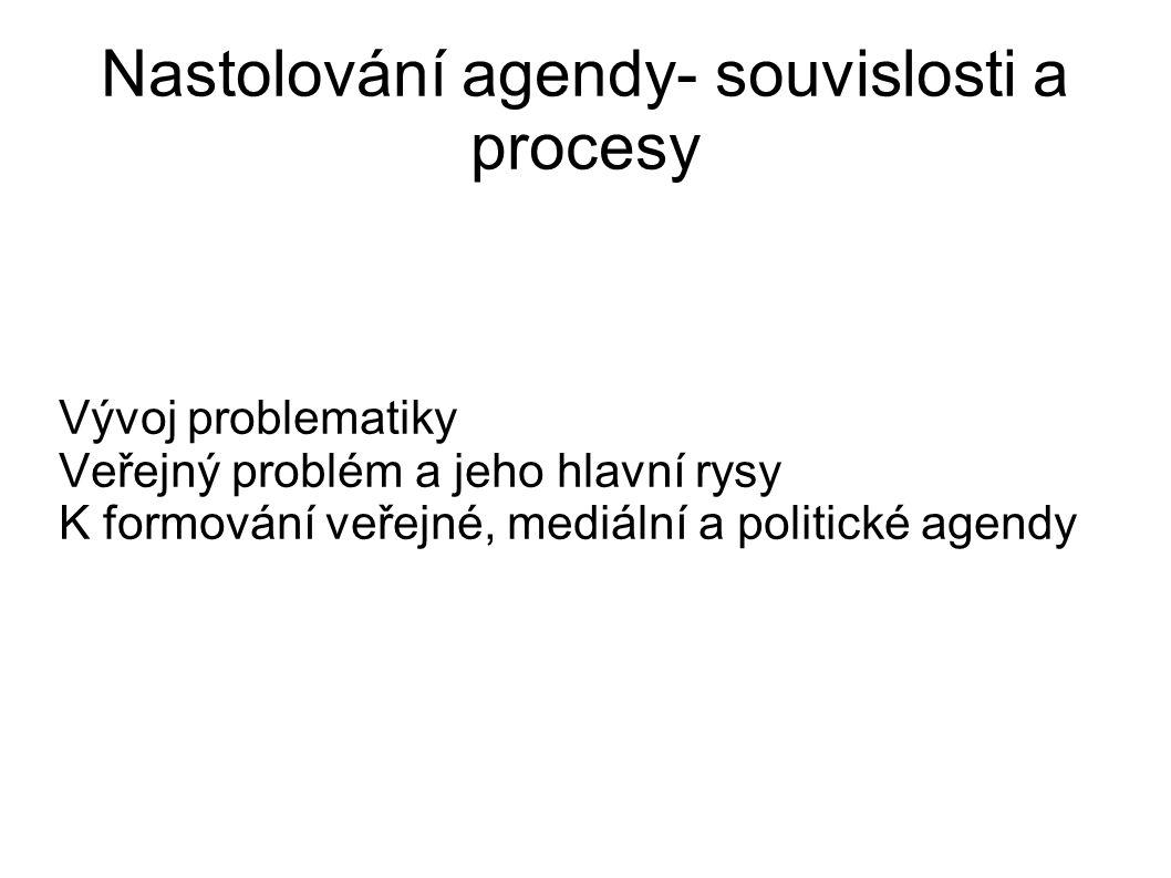 Nastolování agendy- souvislosti a procesy Vývoj problematiky Veřejný problém a jeho hlavní rysy K formování veřejné, mediální a politické agendy