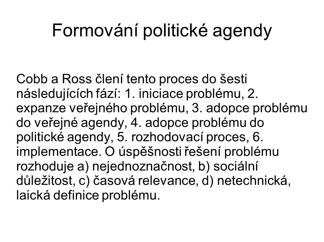 Veřejnost z hlediska zájmu o veřejnou agendu je definována takto: a) identifikační skupina, malá část veřejnost, která prakticky identifikuje problém a snaží se jej nastolit, jako veřejný b) pozorná veřejnost – je část veřejnosti, 10-15 %, která sleduje veřejné problémy a diskutuje o nich, c) dotčené skupiny, část která se soustředí jen na určité problémy a o ostatní nejeví zájem, d) většinová veřejnost – angažuje se ve veřejných problémech jen zřídka a krátce.