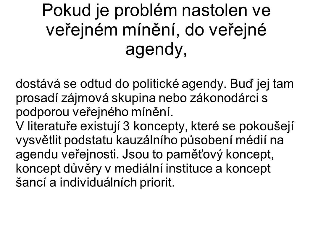 Pokud je problém nastolen ve veřejném mínění, do veřejné agendy, dostává se odtud do politické agendy. Buď jej tam prosadí zájmová skupina nebo zákono