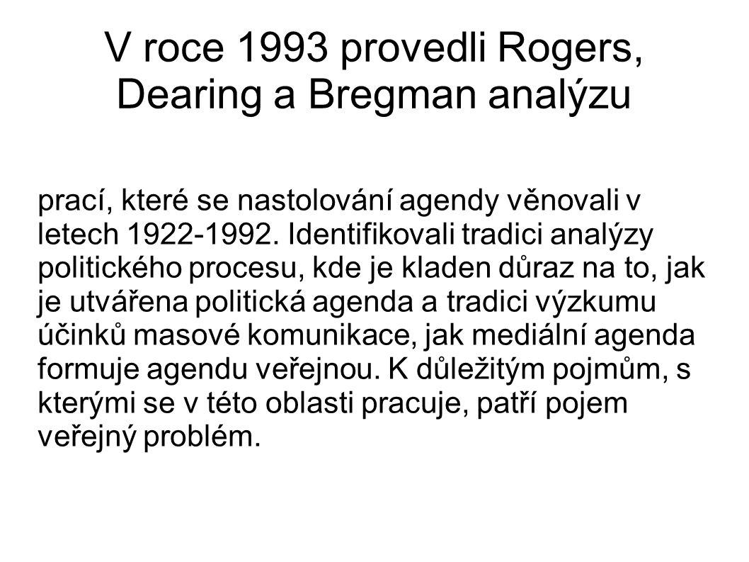 V roce 1993 provedli Rogers, Dearing a Bregman analýzu prací, které se nastolování agendy věnovali v letech 1922-1992. Identifikovali tradici analýzy