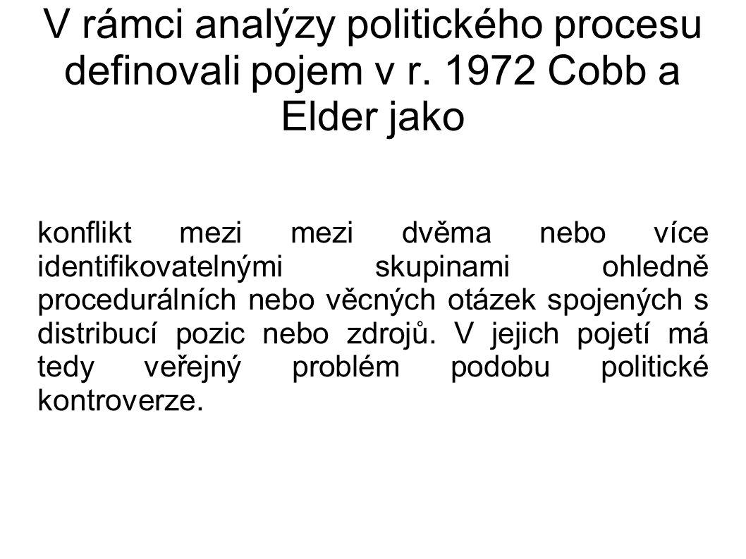 V rámci analýzy politického procesu definovali pojem v r. 1972 Cobb a Elder jako konflikt mezi mezi dvěma nebo více identifikovatelnými skupinami ohle