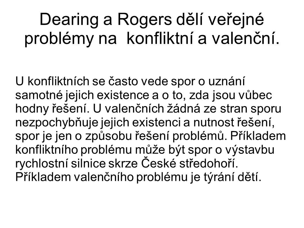 Dearing a Rogers dělí veřejné problémy na konfliktní a valenční. U konfliktních se často vede spor o uznání samotné jejich existence a o to, zda jsou