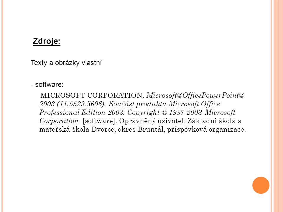 Texty a obrázky vlastní - software: MICROSOFT CORPORATION.