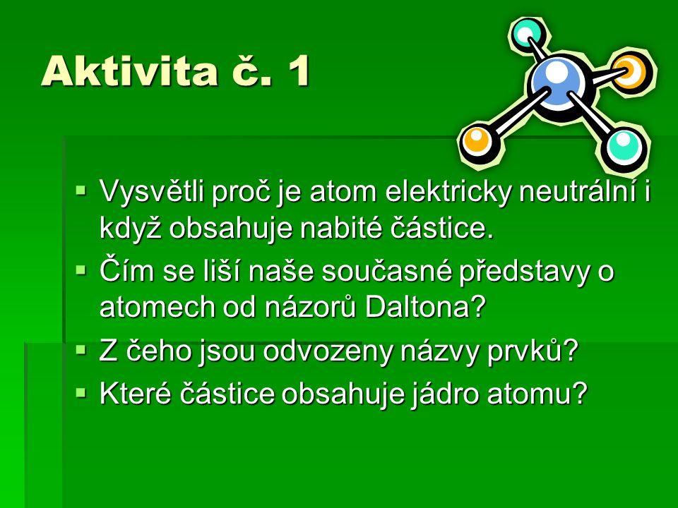 Aktivita č. 1  Vysvětli proč je atom elektricky neutrální i když obsahuje nabité částice.