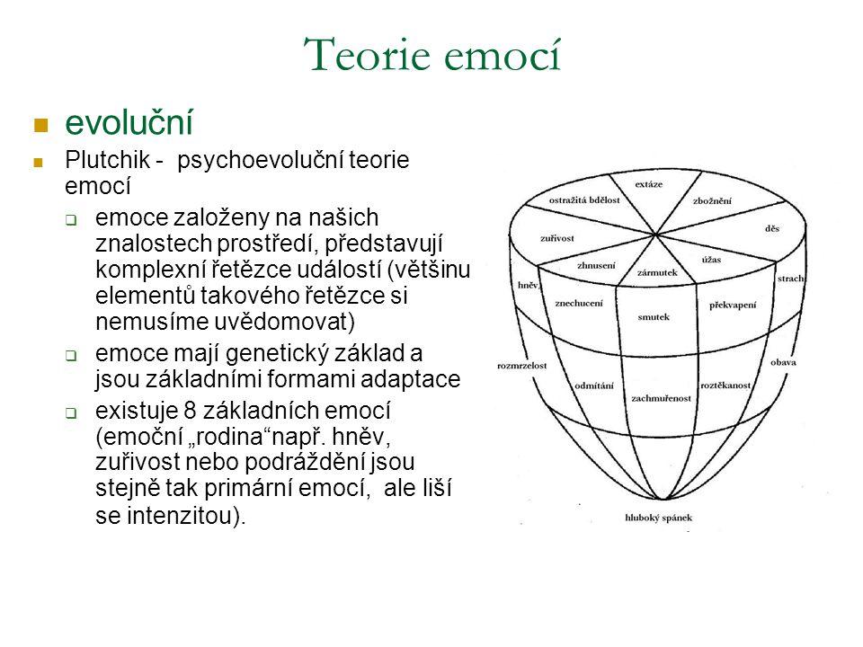 """evoluční Plutchik - psychoevoluční teorie emocí  emoce založeny na našich znalostech prostředí, představují komplexní řetězce událostí (většinu elementů takového řetězce si nemusíme uvědomovat)  emoce mají genetický základ a jsou základními formami adaptace  existuje 8 základních emocí (emoční """"rodina např."""