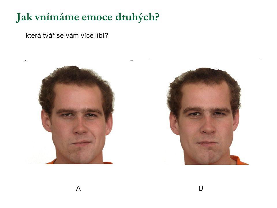 Jak vnímáme emoce druhých? která tvář se vám více líbí? A B