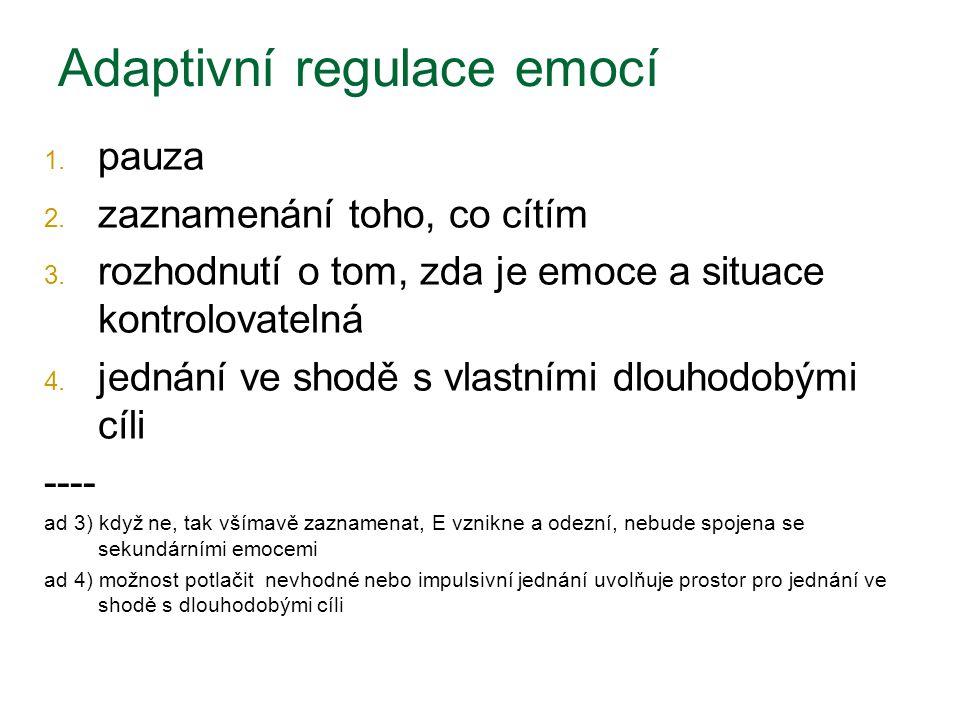 Adaptivní regulace emocí 1.pauza 2. zaznamenání toho, co cítím 3.